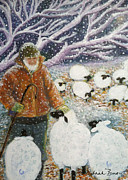 Snowy Night Prints - The Shepherd Print by Deborah Burow