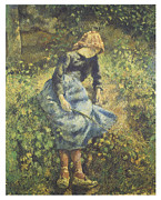 The Young Shepherdess Framed Prints - The Shepherdess Framed Print by Camille Pissarro