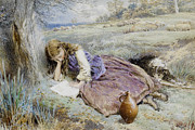Purple Dress Posters - The Shepherdess Poster by Myles Birket Foster