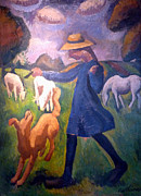 Sheep Digital Art Posters - The Shepherdess Poster by Roger de La Fresnaye
