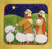 Flock Of Sheep Painting Posters - The Shepherds Poster by Linda Benton