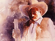 Original Cowgirl Framed Prints - The Sheriff  Framed Print by John  Svenson