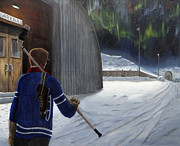 Hockey Painting Originals - The Shinny Player by Dave Rheaume