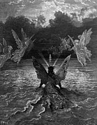 Angels Drawings Prints - The ship continues to sail miraculously moved by a troupe of angelic spirits Print by Gustave Dore