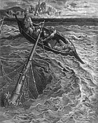Waves Drawings Framed Prints - The ship sinks but the Mariner is rescued by the Pilot and Hermit Framed Print by Gustave Dore