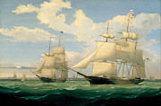Fitz Henry Lane - The Ships Winged Arrow and Southern Cross in Boston Harbor by Fitz Henry Lane