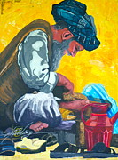 Afghanistan Paintings - The Shoeless Cobbler by gail Denney Shelton