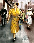 Street Scene Pastels - The Shopper by Leah Wiedemer