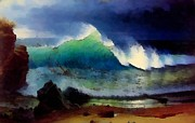Bierstadt Digital Art Posters - The Shore Of The Turquoise Sea Poster by Albert Bierstadt