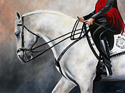 Horse Riders Painting Originals - The Show Horse Stride by Debbie Hart