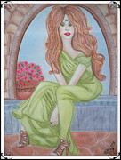 The Seer Framed Prints - The Sibyl - Grecian Goddess Framed Print by Absinthe Art By Michelle LeAnn Scott