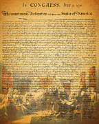 4th July Digital Art Framed Prints - The Signing of The United States Declaration of Independence Framed Print by Wingsdomain Art and Photography