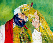 Indian Wedding Paintings - The Sikh groom by Sarabjit Singh