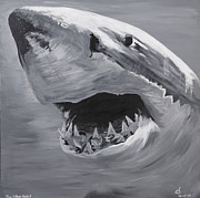 Sharks Paintings - The Silver Bullet by Bob Timmons