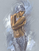 Sequin Metal Prints - The Silver Dancer Metal Print by Zorina Baldescu