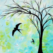 Swallow Painting Framed Prints - The Simple Life by MADART Framed Print by Megan Duncanson