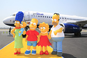 Simpsons Framed Prints - The Simpsons are ready to board their plane Framed Print by Nina Prommer