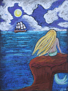 Extinct And Mythical Pastels Originals - The Sirens Song by Diana Haronis
