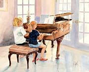 Girl Playing Piano Paintings - The Sister Duet by Marilyn Smith