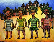 Tribal Art Paintings - The Sisterhood by Ephrem Kouakou