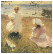 Impressionism Framed Prints - The Sisters Framed Print by Frank Benson