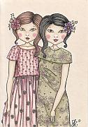 Sisters Drawings - The sisters by Snezana Kragulj