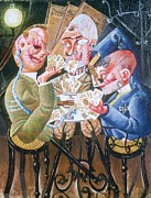 Playing Cards Painting Framed Prints - The Skat Players Framed Print by Pg Reproductions