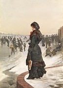 Wintry Posters - The Skater Poster by Edward John Gregory