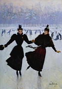 Winter Sports Painting Prints - The Skaters Print by Jean Beraud