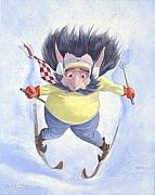 Children Sports Paintings - The Skier by Leonard Filgate