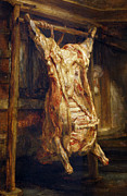 Food And Drink Paintings - The Slaughtered Ox by Rembrandt Harmenszoon van Rijn