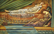 Pillows Metal Prints - The Sleeping Princess Metal Print by Sir Edward Burne-Jones