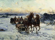 Snowfall Framed Prints - The Sleigh Ride Framed Print by Alfred von Wierusz Kowalski