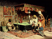Oriental Rug Prints - The Slipper Merchant Print by Jose Villegas Cordero