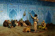 Spectators Paintings - The Snake Charmer by Jean-Leon Gerome