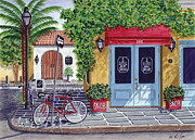 Cobblestone Painting Prints - The SNOB Restaurant Print by Val Miller