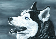 Huskies Painting Posters - The Snow Bandit Poster by Gareth Andrew