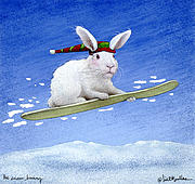 Snowboarding Paintings - The Snow Bunny... by Will Bullas