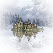 Winter Scenes Mixed Media Metal Prints - The snow palace Metal Print by Sharon Lisa Clarke