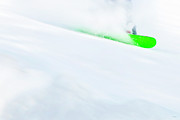 Ski Art Photo Posters - The Snowboarder And The Snow Poster by Theresa Tahara