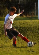 Fast Ball Digital Art Framed Prints - The Soccer Player Framed Print by Dan Stone