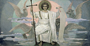 Seraphim Angel Painting Framed Prints - The Son of God   The Word of God Framed Print by Victor Mikhailovich Vasnetsov