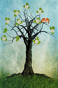 Branch Digital Art Metal Prints - The Song of Spring Metal Print by John Edwards