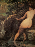 Woman Bathing Framed Prints - The Source Framed Print by Gustave  Courbet