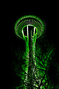 Seattle Digital Art Metal Prints - The Space Needle in the Emerald City II Metal Print by David Patterson