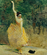 Hispanic Painting Metal Prints - The Spanish Dancer Metal Print by Henri de Toulouse-Lautrec