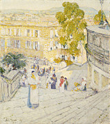 Large Group Of People Prints - The Spanish Steps of Rome Print by Childe Hassam