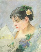 Impressionist Drawings Framed Prints - The Spanish Woman Framed Print by Eva Gonzales