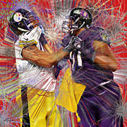 Nfl Painting Posters - The Spectacle - Baltimore At Pittsburgh  Poster by Reggie Duffie