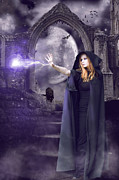 Witch Halloween Cat  Wicca Metal Prints - The Spell is Cast Metal Print by Linda Lees